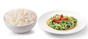 在白色碗可口食物的米 免版税图库摄影
