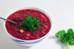 在白色碗的红色罗宋汤汤用荷兰芹,顶视图,在白色木背景 库存图片