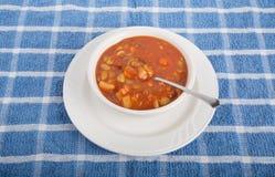 在白色碗的蔬菜汤有匙子的 免版税图库摄影