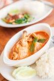 在白色碗的鸡咖喱 泰国的食物 免版税库存图片
