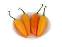 在白色碗的黄色辣椒 库存图片