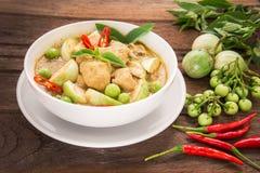 在白色碗,泰国食物的绿色咖喱鸡 免版税图库摄影