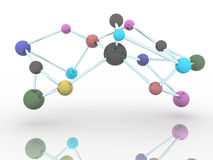 在白色科学背景的分子颜色 免版税库存图片