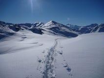 在白色积雪的山的Skitouring足迹 免版税库存图片