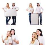 在白色空白的委员会隔绝的对 免版税库存照片
