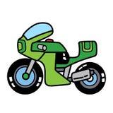 在白色空间分离的线性简单的摩托车 库存照片