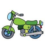 在白色空间分离的线性简单的摩托车 免版税图库摄影