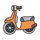 在白色空间分离的线性简单的摩托车 库存图片
