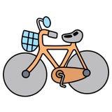 在白色空间分离的线性简单的自行车 图库摄影