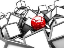 在白色立方体块中的红色另外球形 图库摄影