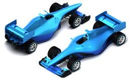 在白色等轴测图隔绝的蓝色3D方程式赛车 免版税库存图片