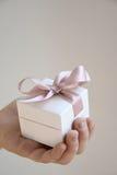 在白色箱子的一件礼物有一把桃红色弓的 免版税库存照片