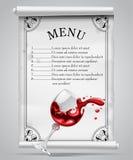 在白色羊皮纸板料的菜单模板与装饰框架和 库存图片