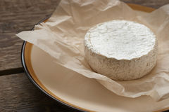 在白色羊皮纸的整个软制乳酪乳酪 库存图片