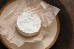 在白色羊皮纸的整个软制乳酪乳酪 免版税库存图片