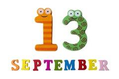 在白色背景、信件和数字的9月13日, 库存图片