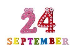 在白色背景、信件和数字的9月24日, 库存图片