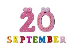 在白色背景、信件和数字的9月20日, 免版税图库摄影