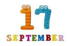 在白色背景、信件和数字的9月17日 库存照片