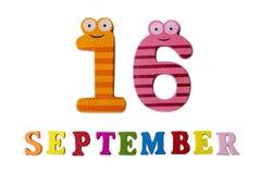 在白色背景、信件和数字的9月16日 库存图片