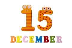 在白色背景、数字和信件的12月15日 库存照片
