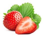 在白色背景与被切的一半的草莓隔绝的 库存照片