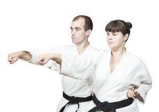 在白色背景两成人运动员打拳打手 库存照片