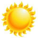 在白色背景中隔绝的黄色动画片传染媒介太阳发光 免版税库存照片