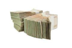 在白色背景事务的,银行的泰国钞票1000泰铢 库存图片