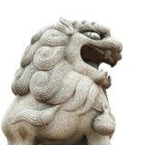 在白色背景亚洲样式的狮子大理石顶头孤立 库存图片