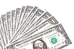 在白色背景传播的美元 免版税图库摄影