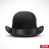 在白色背景传染媒介的黑圆顶硬礼帽 库存图片