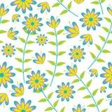 在白色背景传染媒介设计的逗人喜爱的蓝色和黄色花无缝的样式织品的给背景穿衣 免版税库存照片