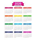在白色背景传染媒介illustra隔绝的2020年日历 库存例证