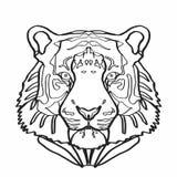 在白色背景例证白色背景在动画片样式的老虎象隔绝的 向量例证