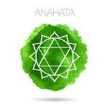 在白色背景例证隔绝的传染媒介七chakras之一- Anahata 水彩手画纹理 库存照片