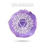在白色背景例证隔绝的传染媒介七chakras之一- Sahasrara 水彩被绘的纹理 库存照片