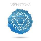 在白色背景例证隔绝的传染媒介七chakras之一- Vishuddha 水彩被绘的纹理 免版税库存图片