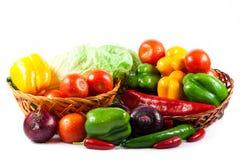 在白色背景健康食物隔绝的不同的菜 免版税库存图片