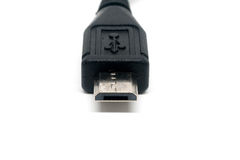 在白色背景关闭隔绝的微usb缆绳  免版税库存照片