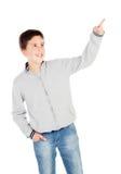 在白色背景十三隔绝的微笑的十几岁的男孩 库存照片
