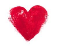在白色背景和丙烯酸酯的心脏隔绝的水彩 免版税库存图片