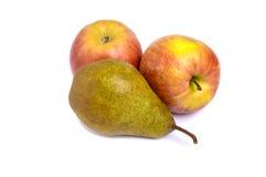 在白色背景和两成熟红润红黄色苹果隔绝的一个大黄褐色梨 库存照片
