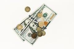 在白色背景和分隔绝的美元 库存图片