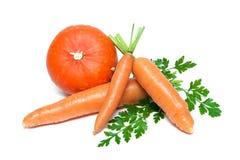 在白色背景和南瓜隔绝的红萝卜 库存图片