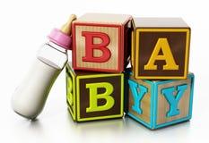 在白色背景和哺乳瓶隔绝的婴孩立方体 3d例证 免版税库存照片