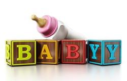 在白色背景和哺乳瓶隔绝的婴孩立方体 3d例证 免版税图库摄影