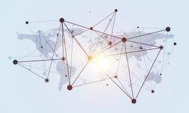 在白色背景和小点当网络想法画的线 免版税图库摄影