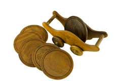 在铸工边五沿海航船的木板台持有人 免版税库存照片