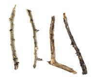在白色背景和枝杈隔绝的棍子 库存照片